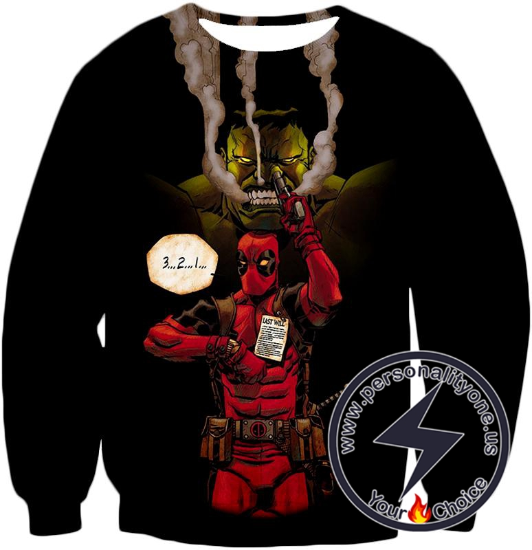 Awesome Deadpool Action ft Angry Hulk Cool Black Sweatshirt