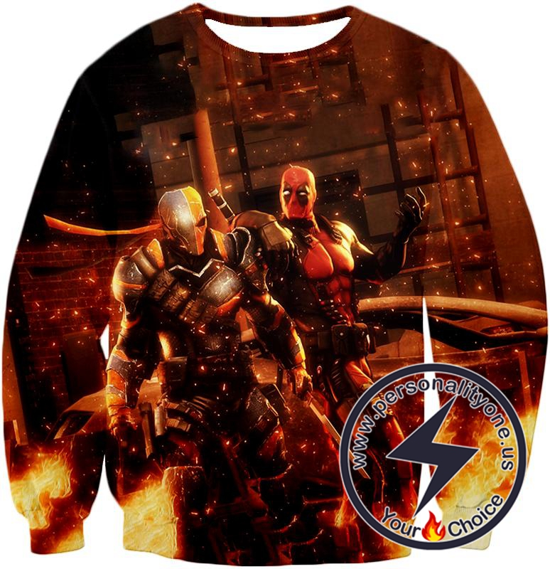 Cool Deadpool and Deathstroke Super Fan Art Sweatshirt