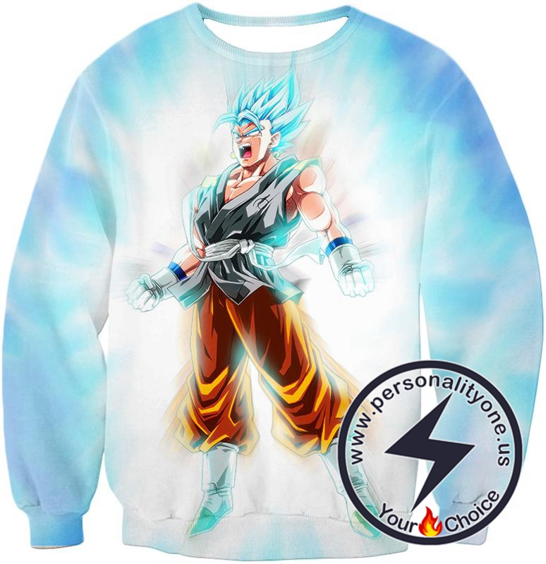 Dragon Ball Super Awesome Fusion Hero Vegito Super Saiyan Blue Action White Sweatshirt