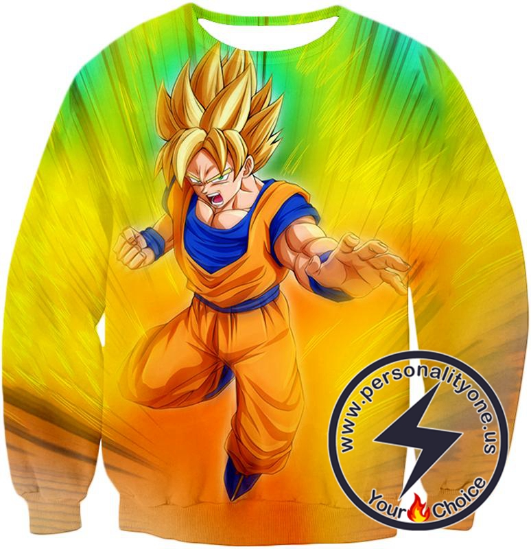 Dragon Ball Super Super Cool Fighter Goku Rising Super Saiyan 2 Awesome Anime Sweatshirt