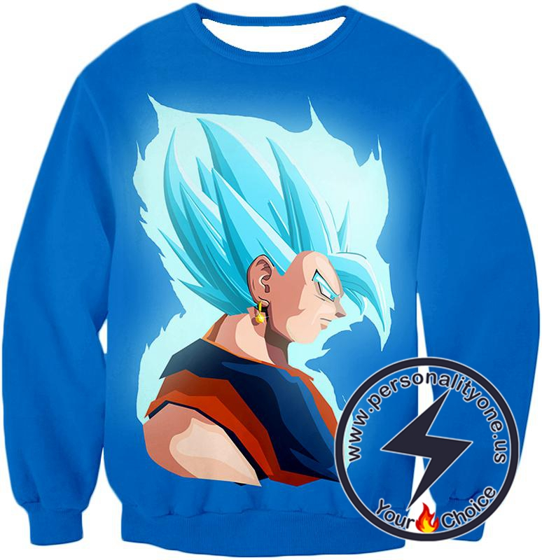 Dragon Ball Super Super Cool Fusion Vegito Super Saiyan Blue Godly Form Promo Blue Sweatshirt