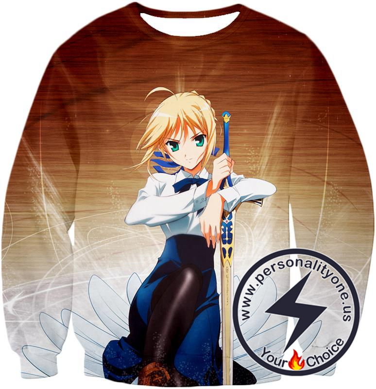Fate Stay Night Cute Saber Altria Pendragon Action Pose Sweatshirt