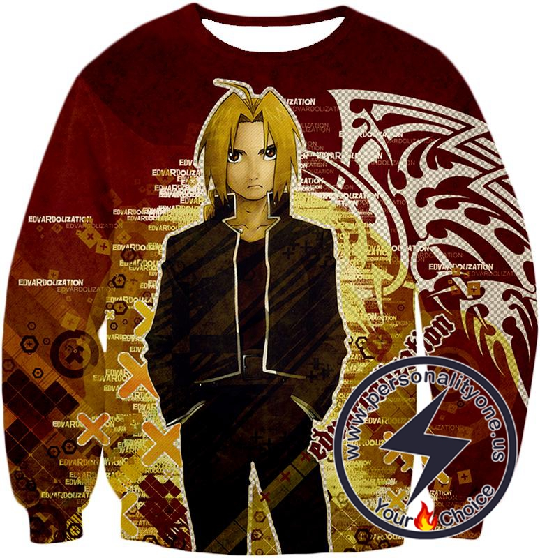 Fullmetal Alchemist Awesome Anime Hero Edward Elrich Cool Promo Poster Red Sweatshirt