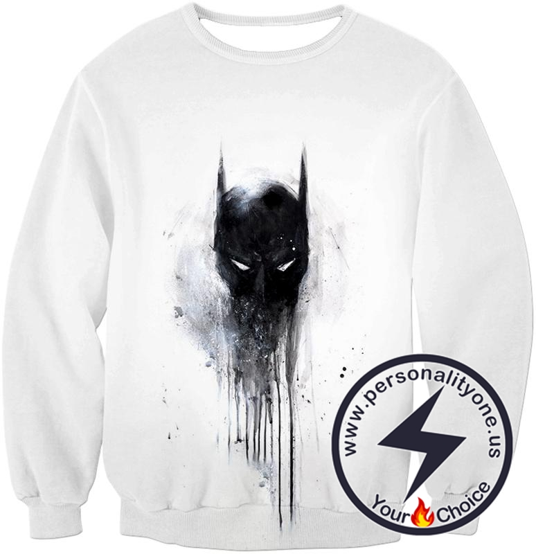 Masked Vigilante Batman Awesome Logo White Sweatshirt