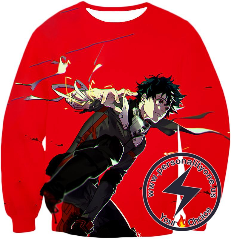My Hero Academia Cool Izuki Midoriya Red Action Sweatshirt