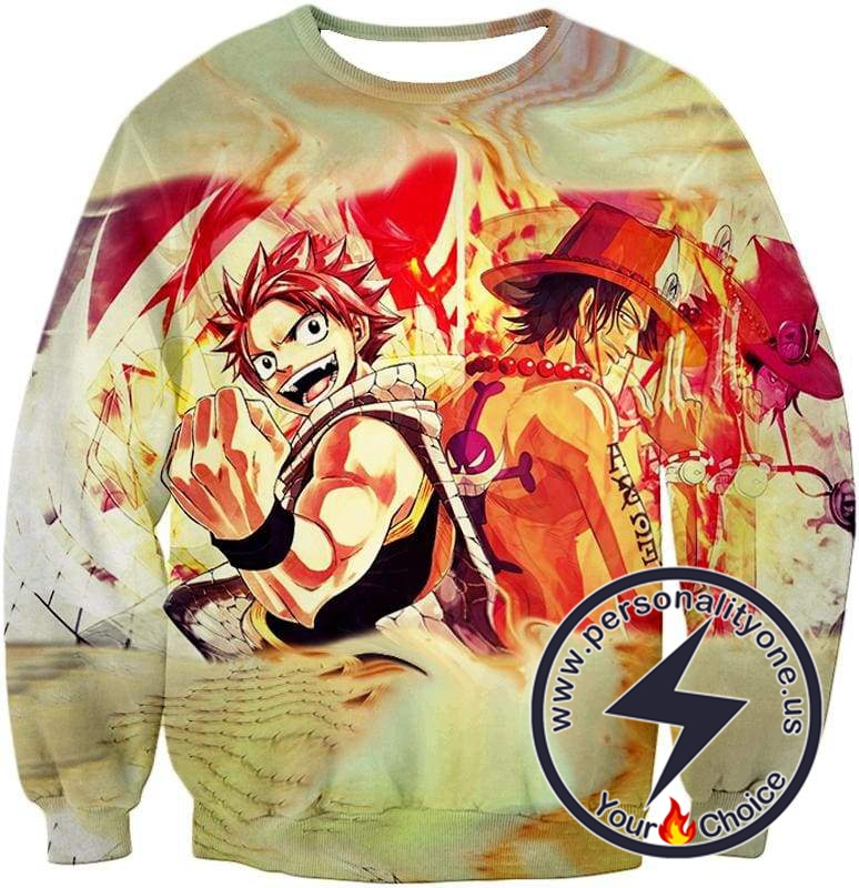 One Piece Cool Fire Using Anime Characters Natsu Dragneel and Portgas D Ace Sweatshirt