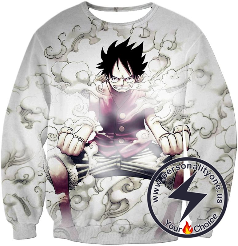 One Piece Cool Pirate Hero Monkey D Luffy Action White Sweatshirt
