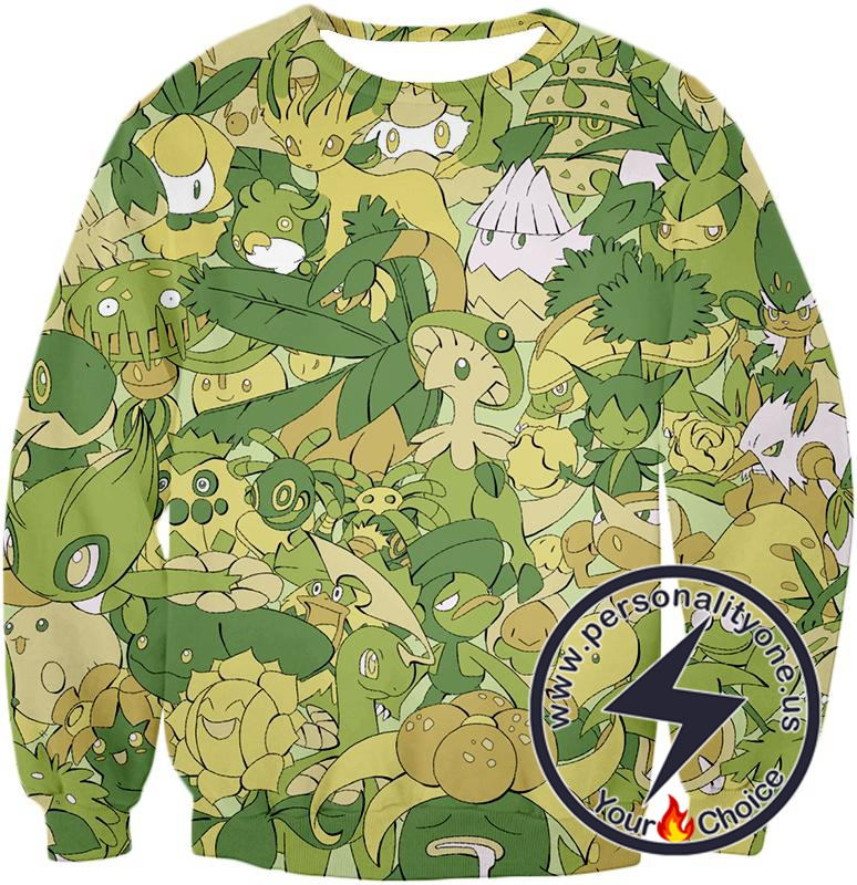 Pokemon Amazing All in One Grass Type Pokemons Super Cool Sweatshirt