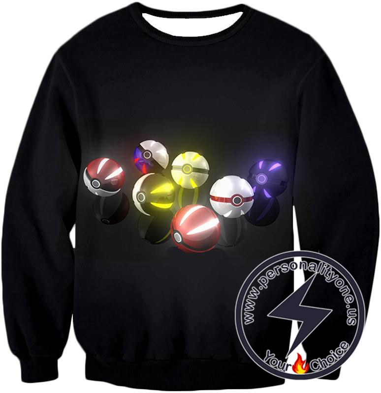 Pokemon Super Cool All Types of Pokeballs Awesome Black Sweatshirt