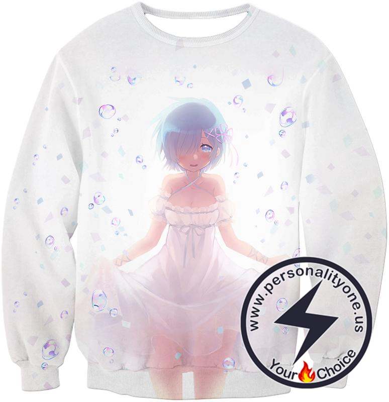Re:Zero Very Attractive Anime Maid Rem White Sweatshirt