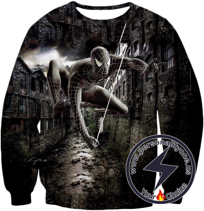 Super Cool Black Spiderman HD Printed Action Sweatshirt