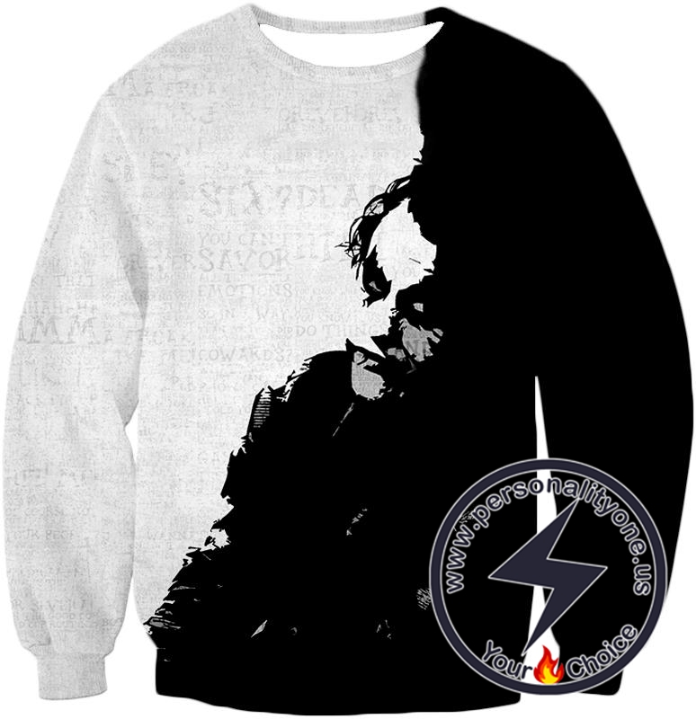 Ultimate Psychotic Villain The Joker Amazing Black and White Sweatshirt