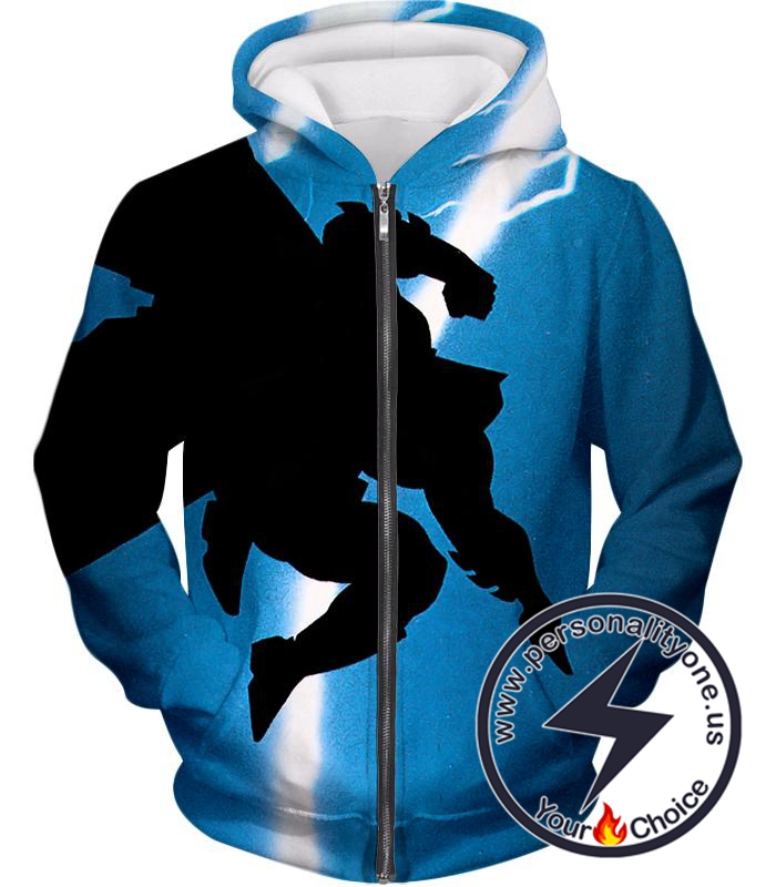 Amazing Action Batman Awesome Shadow Print Blue Zip Up Hoodie