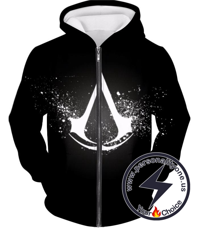 Amazing Logo Assassin's Creed Cool Black Zip Up Hoodie