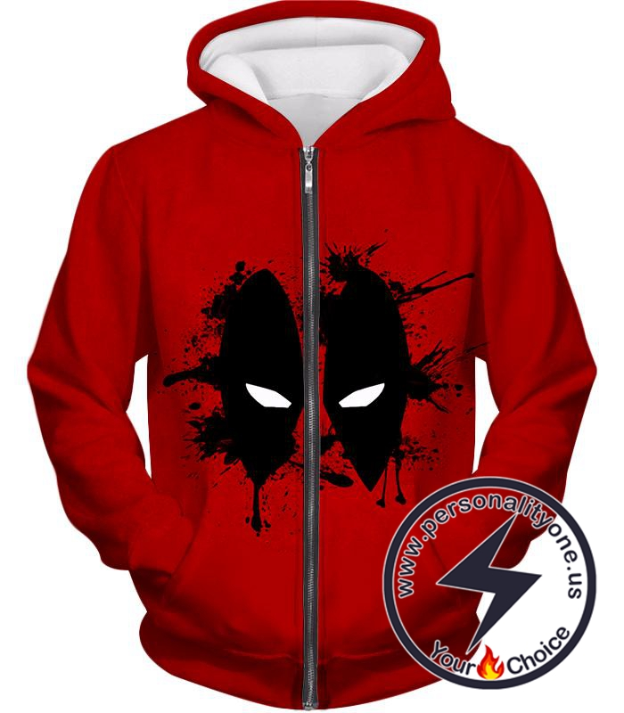 Amazing Red Deadpool Masked Patterned Promo Zip Up Hoodie