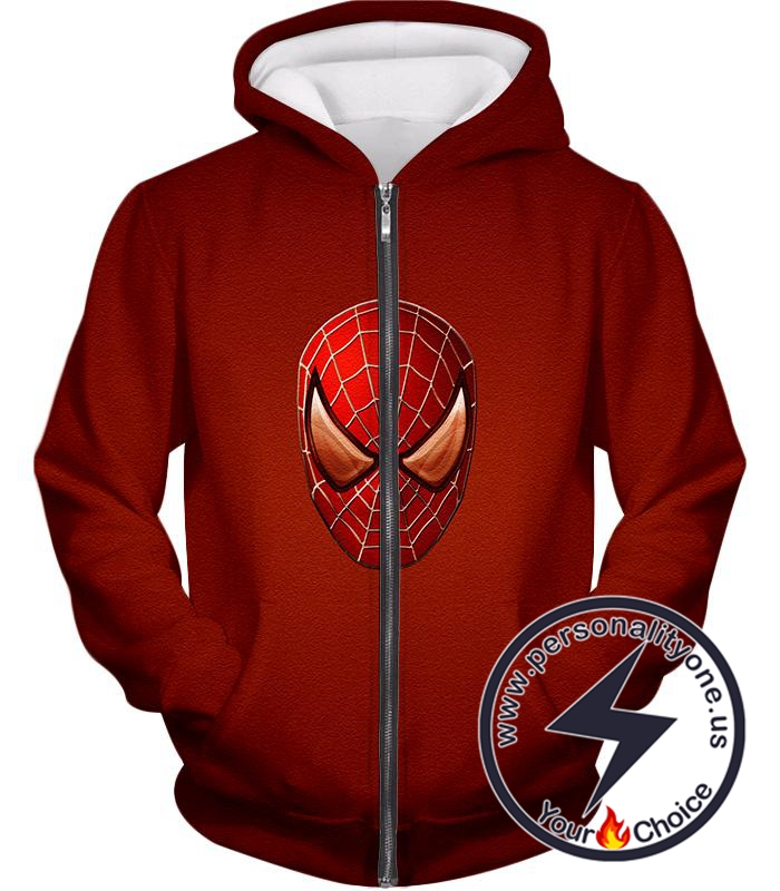 Amazing Spiderman Mask Promo Red Zip Up Hoodie