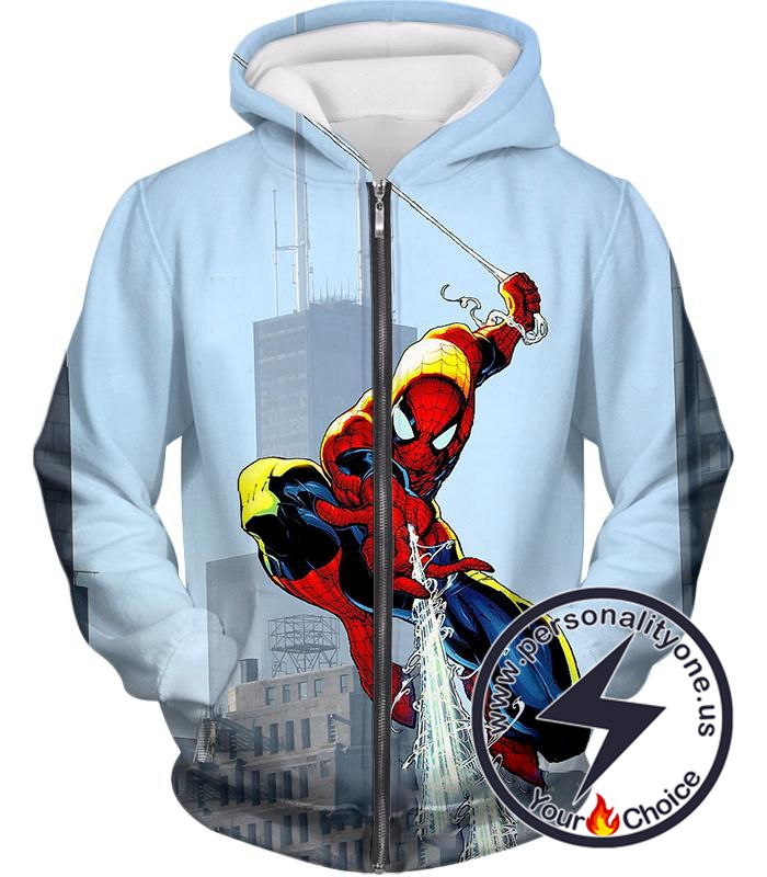 Awesome Web Slinging Hero Spiderman Animated Action Zip Up Hoodie