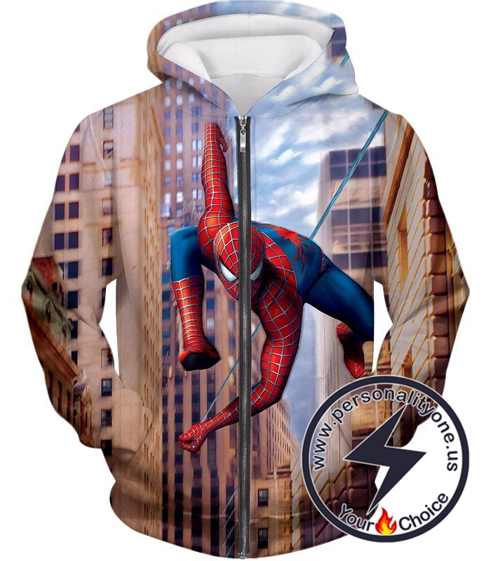 Best New York Hero Spiderman HD Action Print Zip Up Hoodie