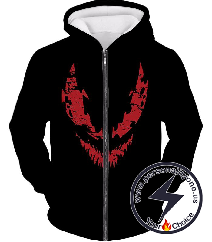 Blood Red Spiderman Villain Carnage Promo Black Zip Up Hoodie