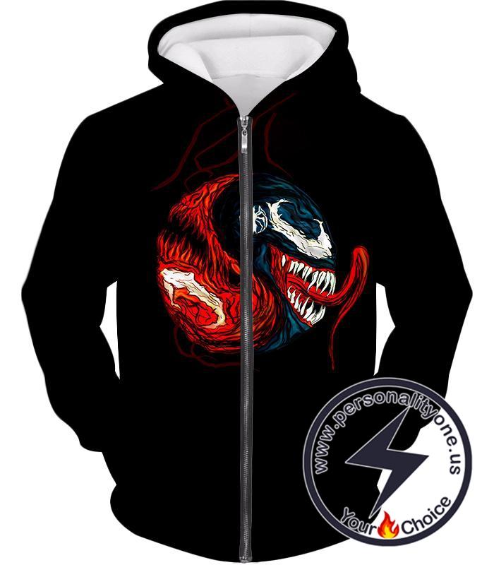 Carnage X Venom Crazy Fan Art Black Zip Up Hoodie