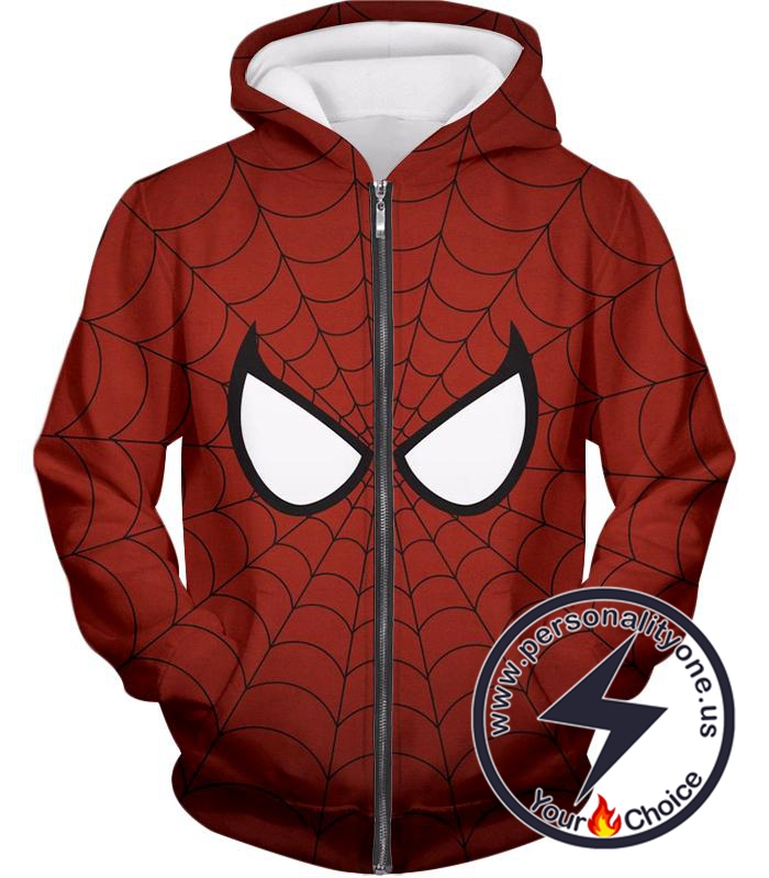 Cool Spider Net Patterned Spidey Eyes Red Zip Up Hoodie