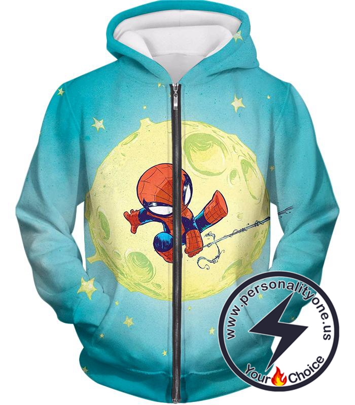 Cute Animated Spiderman Swinging Cool Blue Zip Up Hoodie
