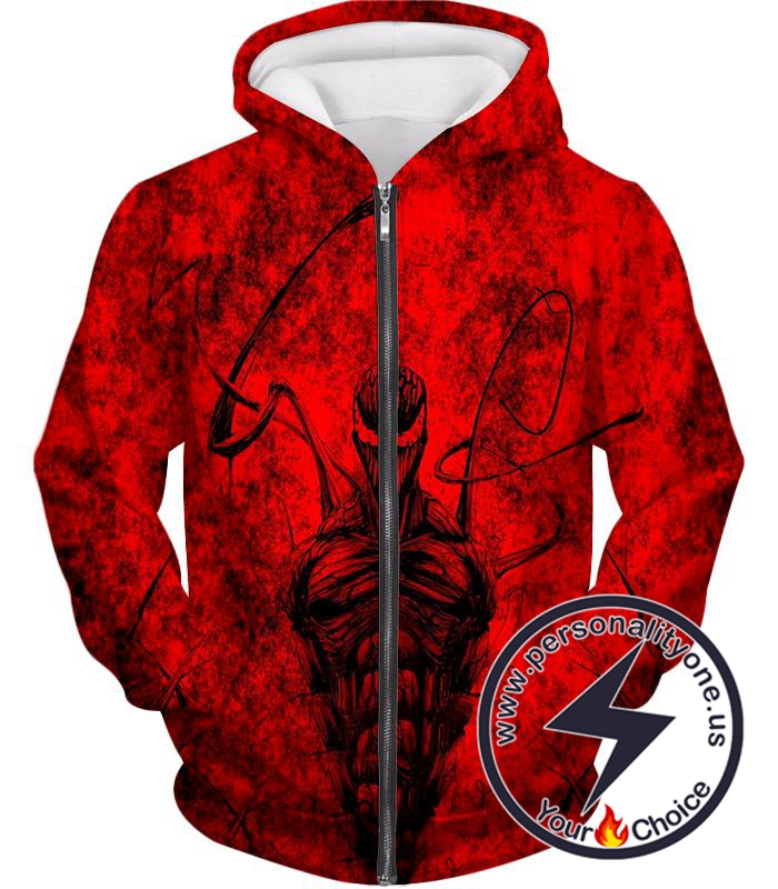 Deadly Spiderman Villain Carnage Blood Red Zip Up Hoodie