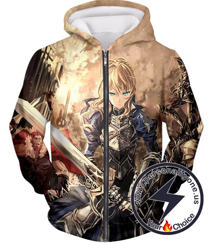 Anime Fate Stay Night Altria Pendragon Saber Zipper Jacket Hoodie Sweater Coat