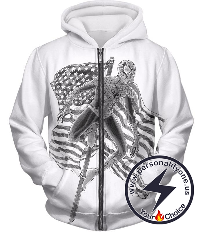 Favourite American Hero Spiderman Sketch White Zip Up Hoodie
