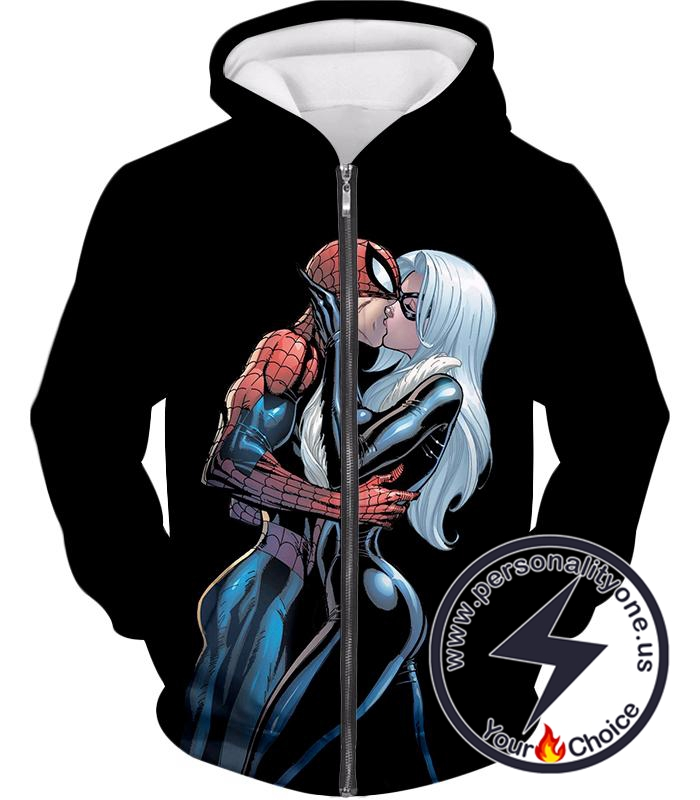 Hot Spiderman Black Cat Kiss Action Black Zip Up Hoodie