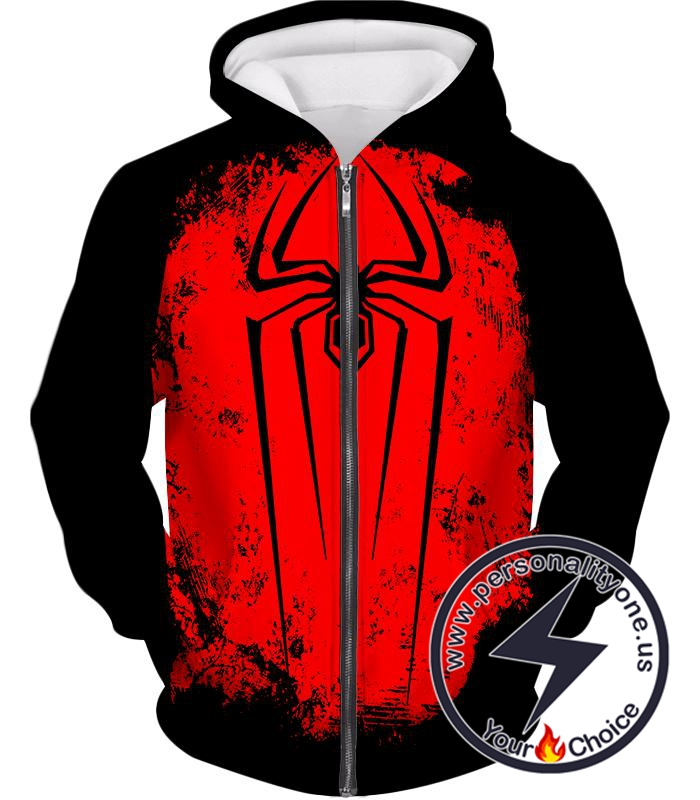 Incredible Red Spider Logo Promo Black Zip Up Hoodie