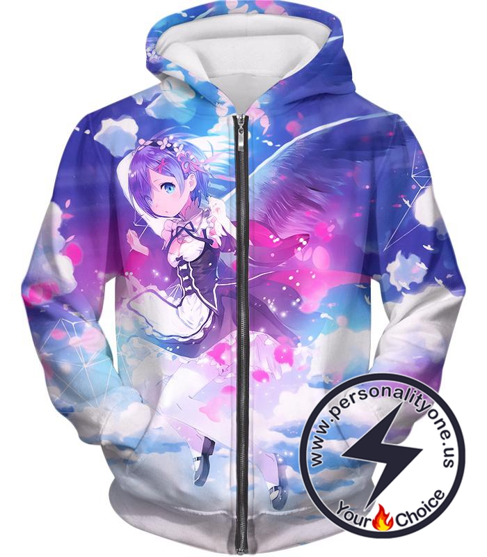 Re:Zero Cute Blue Hair Flying Anime Maid Rem Action Zip Up Hoodie