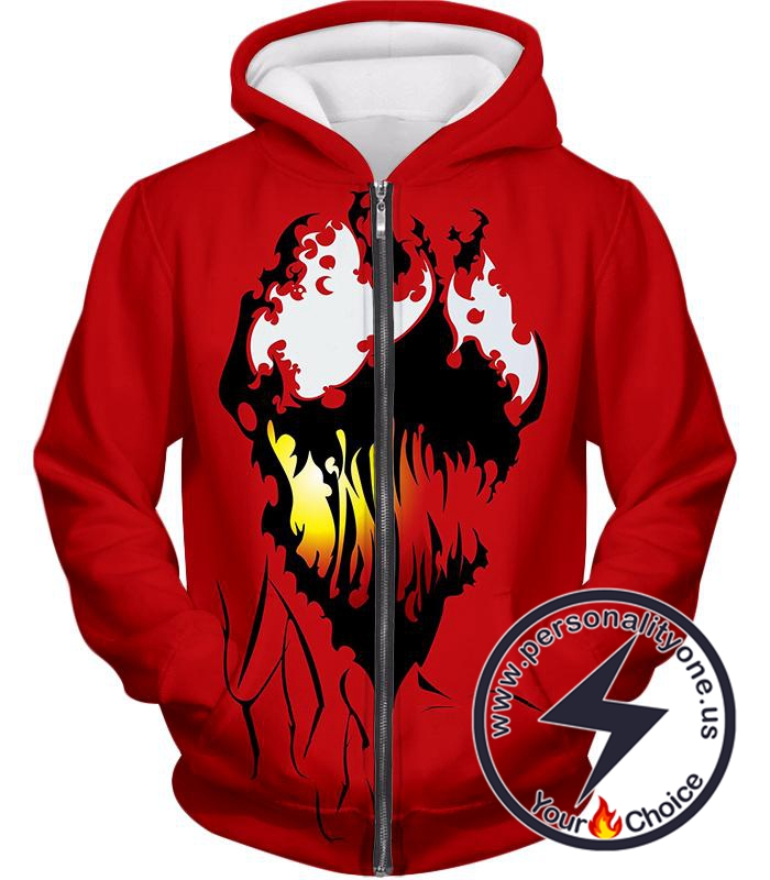 Spiderman Villain Cool Carnage Blood Red Zip Up Hoodie