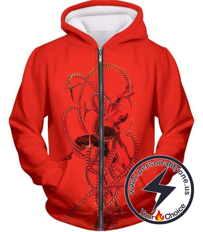 Spiderman in Octopus Claws Cool Red Action Zip Up Hoodie