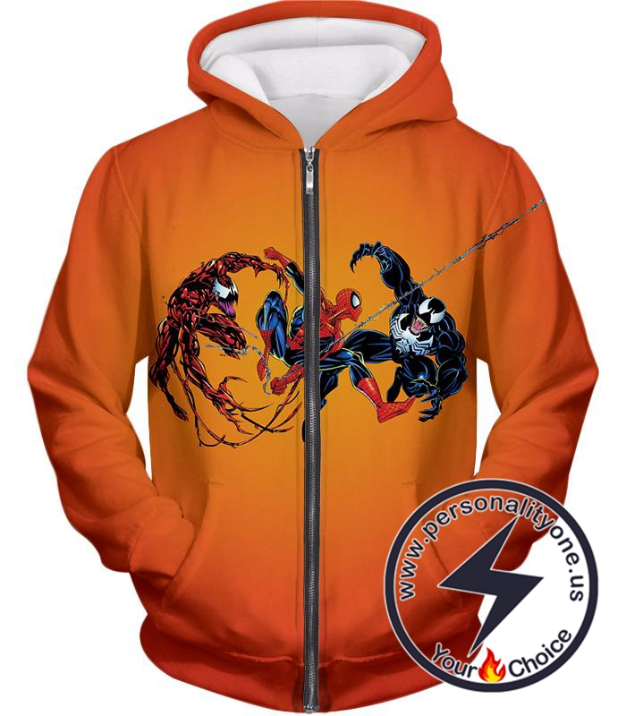 Spiderman x Carnage x Venom Cool Action Orange Zip Up Hoodie