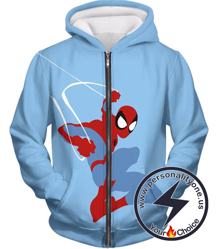 Super Cool Animated Spiderman Web Action Blue Zip Up Hoodie