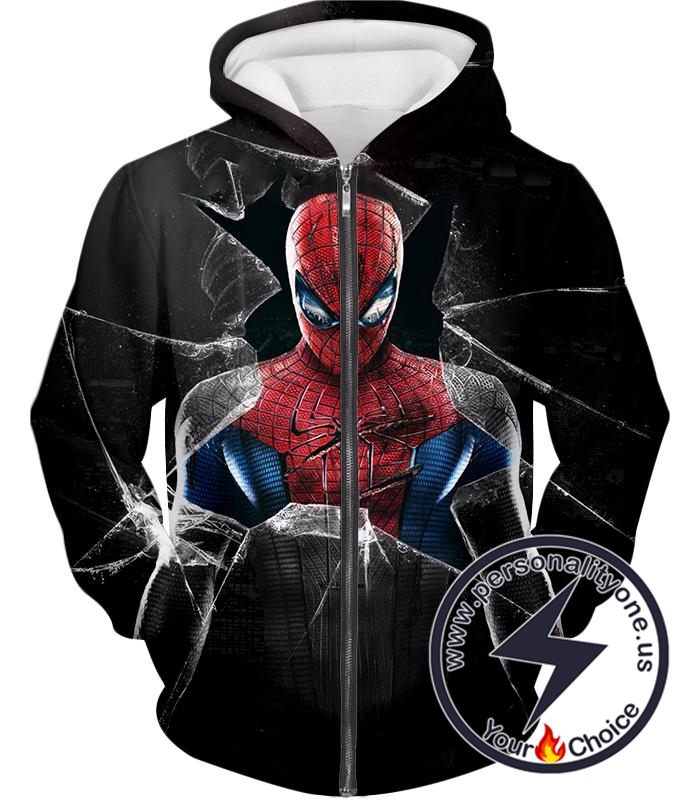 Super Cool The Amazing Spiderman Poster Black Zip Up Hoodie