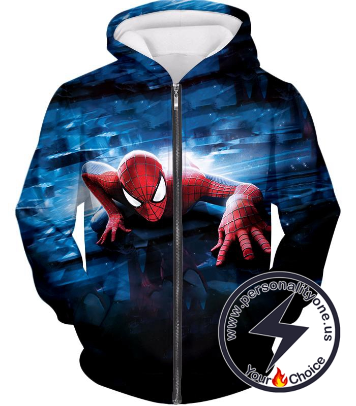 Super Cool Wall Crawler Spiderman Black Zip Up Hoodie