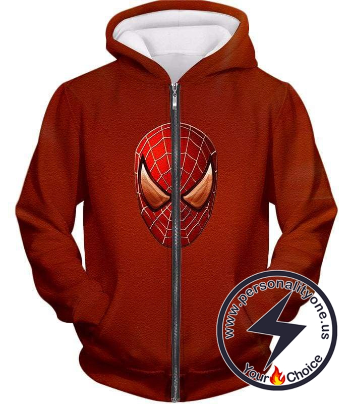 Ultimate Spiderman Mask Promo Cool Red Zip Up Hoodie