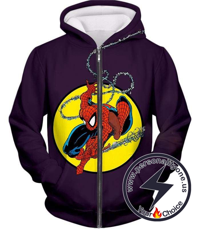 Web Shooting Animated Hero Spiderman Purple Zip Up Hoodie