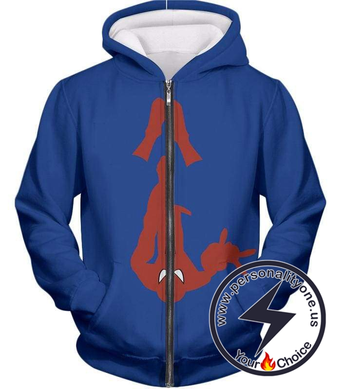Web Slinging Cool American Hero Spiderman Blue Action Zip Up Hoodie