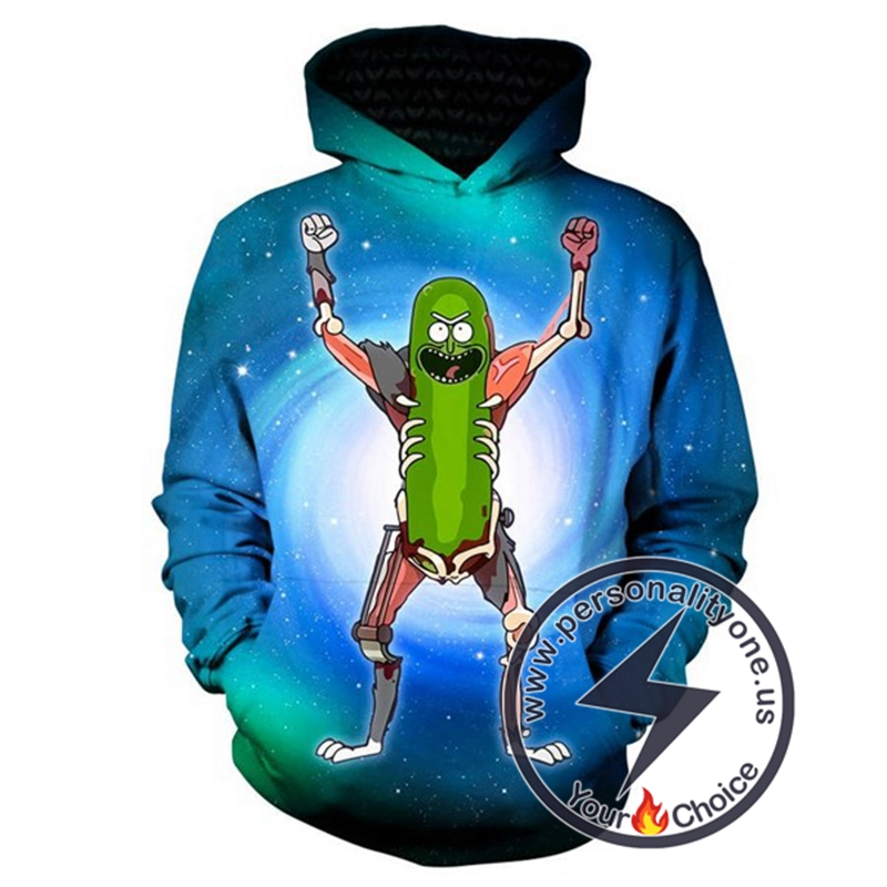 3D Pickle Rick Winter Cool Hoodie