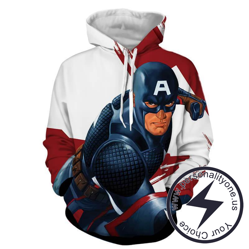 CAPTAIN AMERICA RED AND WHITE 3D Hoodies - CAPTAIN AMERICA 3D