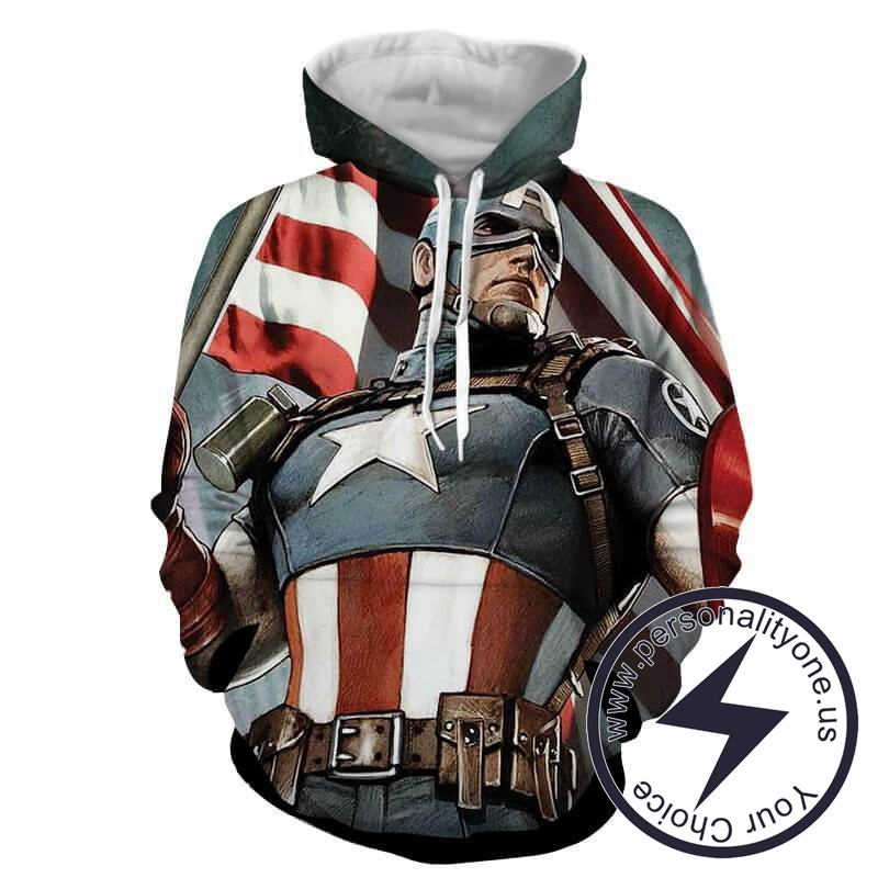 CAPTAIN AMERICA WITH FLAG 3D Hoodies - CAPTAIN AMERICA 3D