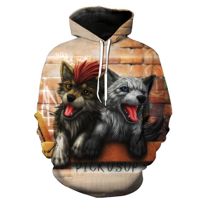 Cute Twins Wolf - Wolf 3D - Wolf Hoodies