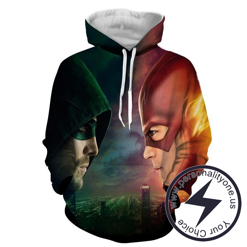 Flash & Green Arrow 3D Printed - The Flash Hoodies - Star Lab