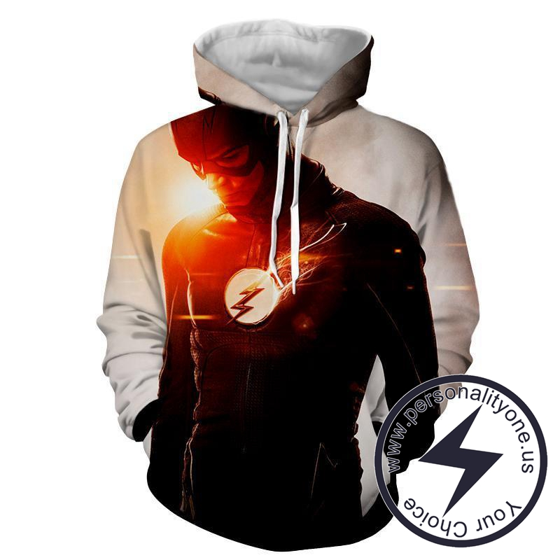 Flash Printed White - The Flash Hoodies - Star Lab