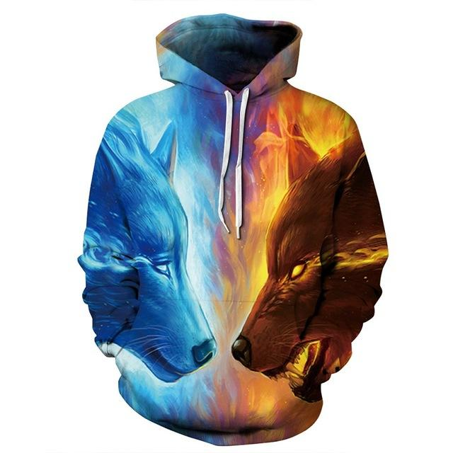 Ice Wolf Vs Fire Wolf - Wolf 3D - Wolf Hoodies