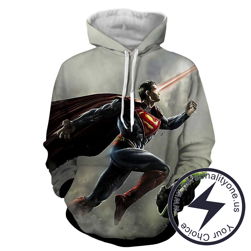 Superman Laser Action Flying 3D - Superman Sweat Shirt - Superman Hoodies