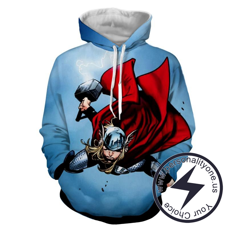 Thor Attack - Thor 3D - Hoodies